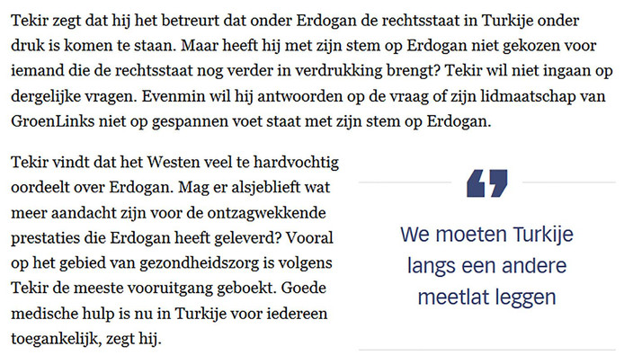 Fragment uit het artikel in de Volkskrant.