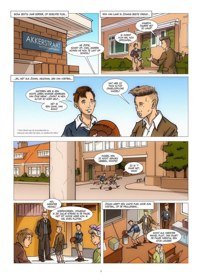 Een pagina uit het stripalbum 'Johan Cruijff: van straatschoffie tot voetballegende' van Rudi Jonker.
