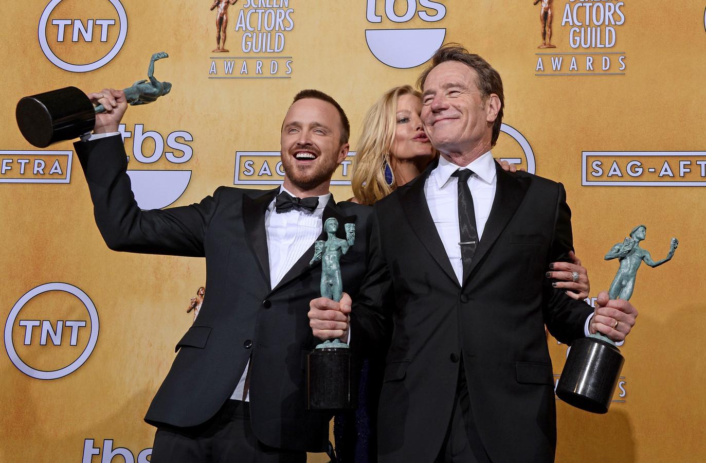 Aaron Paul, Anna Gunn en Bryan Cranston tijdens de succesjaren van Breaking Bad.