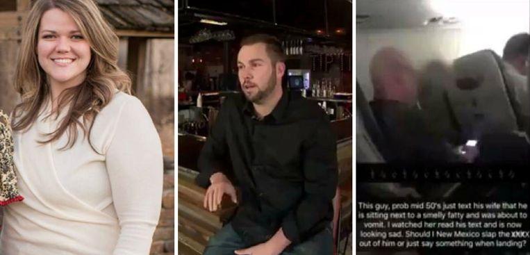 Links: Savannah Phillips. Midden: haar reddende engel Chase Irwin. Rechts: de foto die Chase van de onbeleefde passagier nam om bij zijn Snapchataccount te zetten.