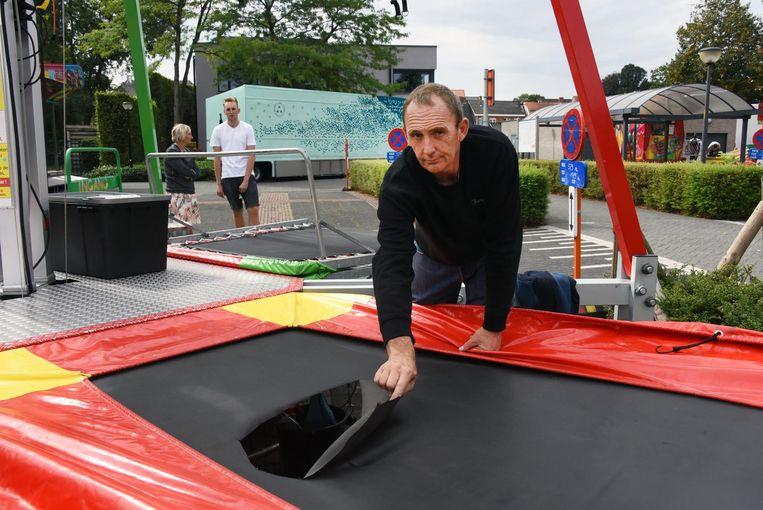 Bij de bungeetrampoline van Alain De Laet werden touwen en springzeilen kapotgesneden.