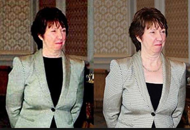 Het decolleté van EU-buitenlandchef Catherine Ashton is door Iraanse media bijgewerkt. Beeld null