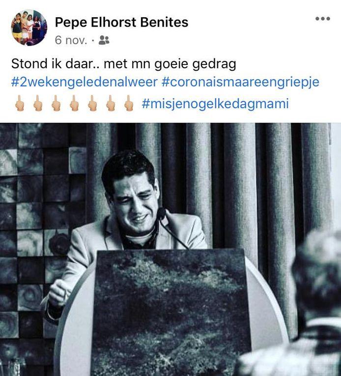 De foto die Pepe Elhorst Benites 6 november op zijn Facebookaccount plaatste.