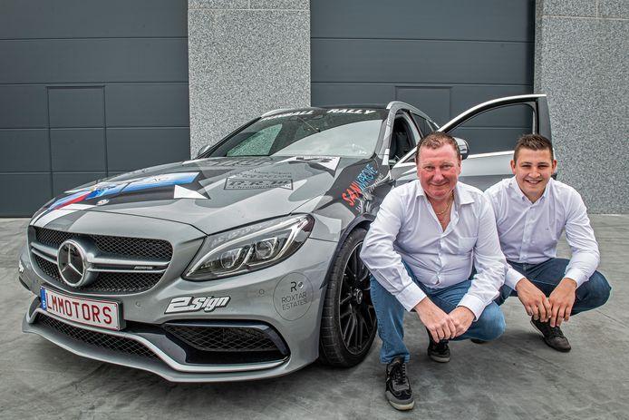 Mario Descamps en Laurent Monsieurs nemen met hun Mercedes  C63S AMG deel aan de Runball Rally van Vlissingen naar Marbella.