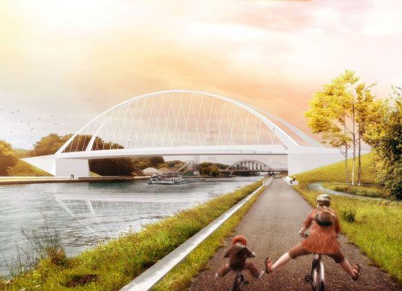 Een simulatiebeeld van de brug aan de Lierseweg.