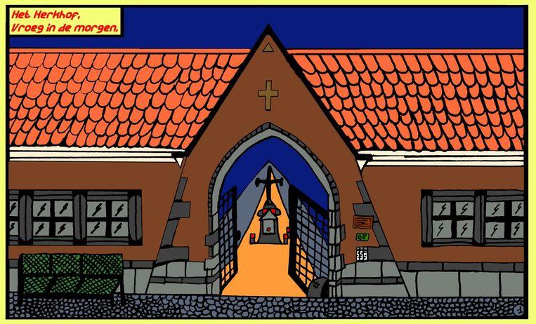 Het Clara Kramer stripverhaal van Wim Vlieg start op het kerkhof van Aalst.