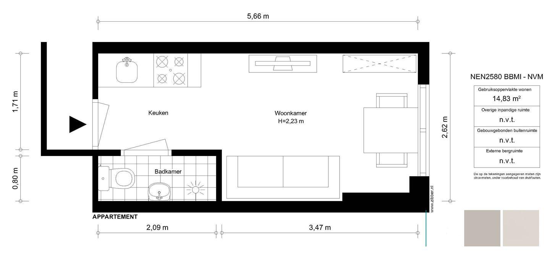 Amsterdams 39 studentenkamertje 39 15m2 verkocht voor meer for Ladenblok 1 meter breed