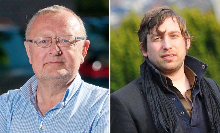"""Paul Carteus en Tijl Rommelaere van de Vlaamsgezinde beweging """"Ontgrendel Ronse""""."""