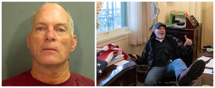 Richard Barnett (60) uit Arkansas drong binnen in het kantoor van Nancy Pelosi.