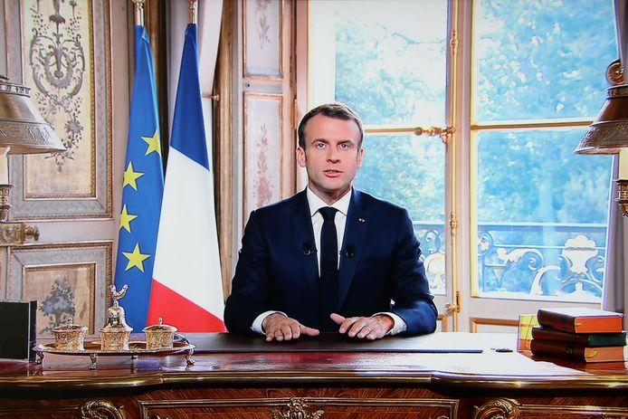 De Franse president Macron houdt een toespraak. Archiefbeeld.