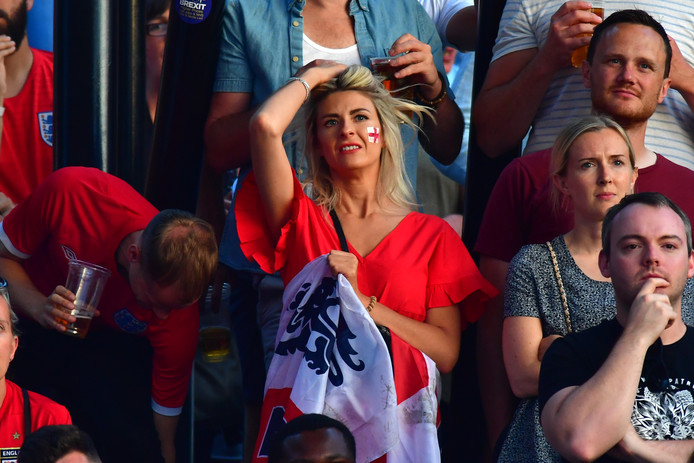 MANCHESTER, ENGLAND - JULY 11:  Football fans watch England play Croatia at the Auto Trader World Cup semi-final screening in Castlefield Bowl on July 11, 2018 in Manchester, United Kingdom. World Cup fever is building among England fans after reaching the Semi Finals of the Russia 2018 FIFA World Cup (Photo by Anthony Devlin/Getty Images)