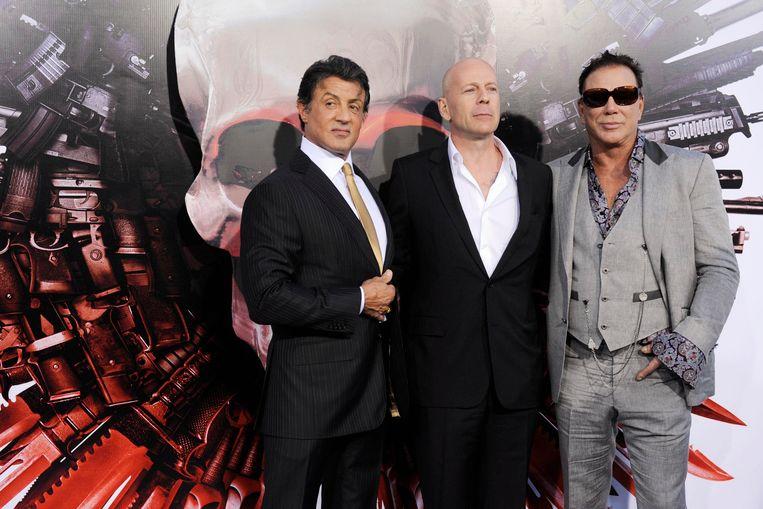 Sylvester Stallone, Bruce Willis en Mickey Rourke spelen in de film Beeld null