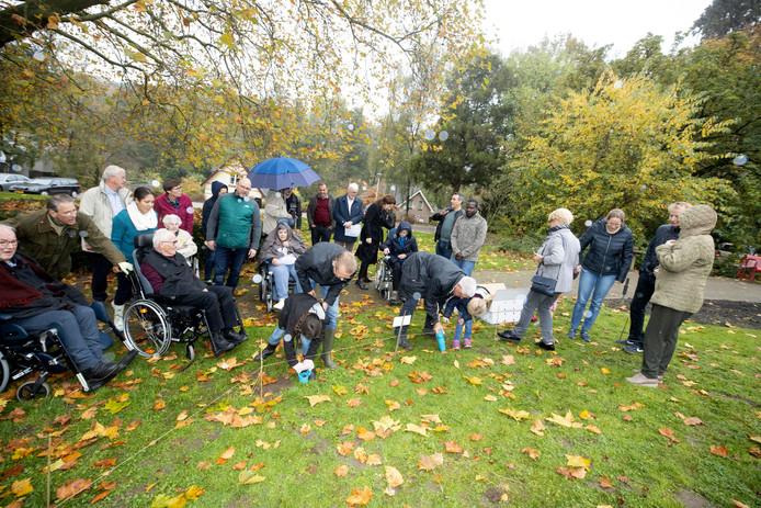 Rotary Club Nijmegen plant daar met bewoners Kalorama tulpenbollen, Beek. 2-11-2019 . mevrouw met blauwe shawl heet Lelieveld-Cinghocq