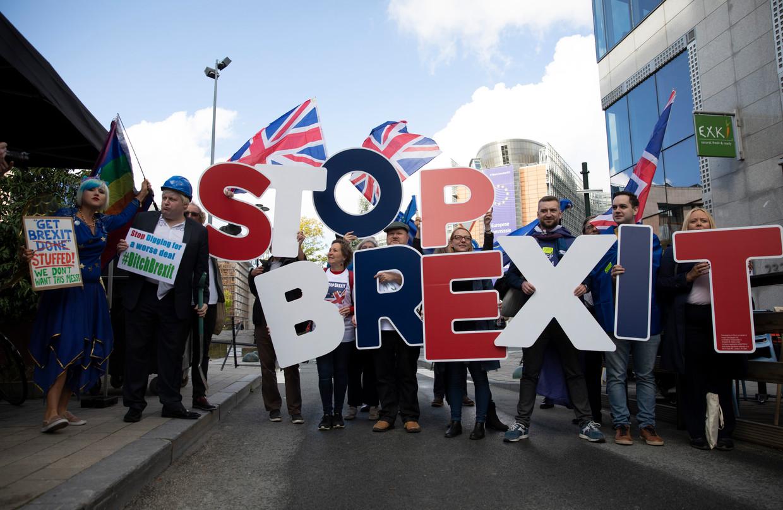 Anti-brexit-demonstratie in Brussel. Zaterdag stemt het Britse parlement over de deal. Beeld AP