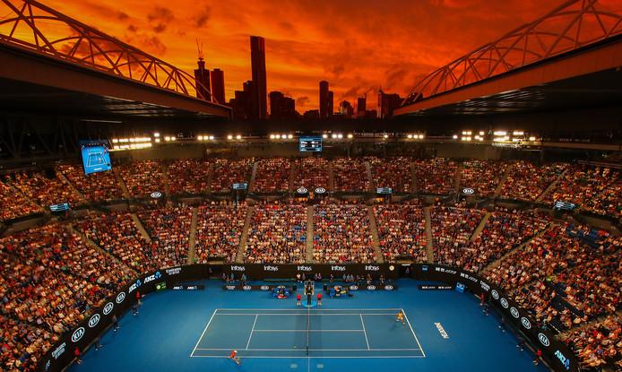De lucht boven de Rod Laver Arena bij de partij tussen Rafael Nadal en Alex de Minaur.