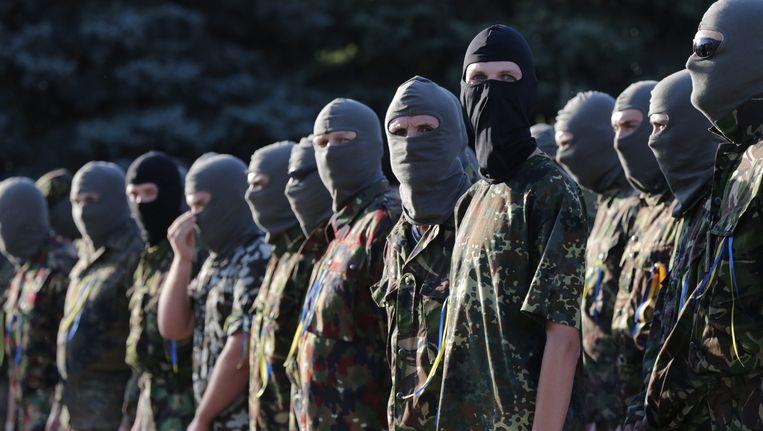 Vrijwillige Oekraïense militairen. Beeld epa