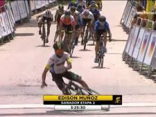 Bizarre finish in wielerkoers in Colombia: wie legt nou net dáár de streep neer?
