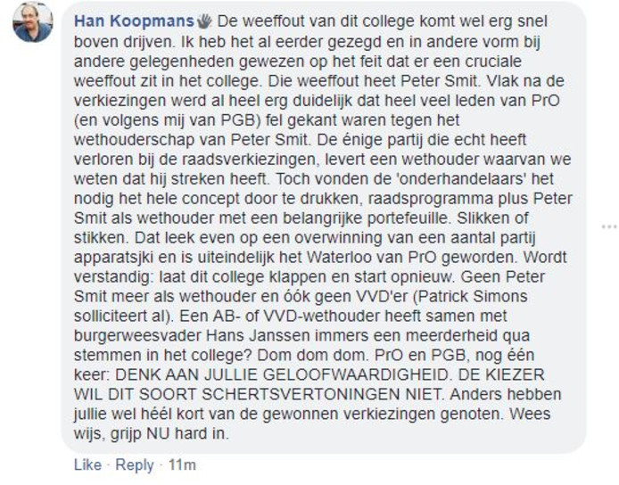 Reactie van Han Koopmans (Actiegroep Insaid Nee)