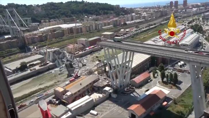 Nieuwe beelden instorten brug Genua