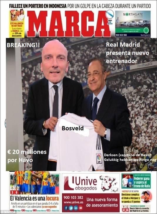 Hans Bosveld op de voorpagina van de Haalderense 'editie' van Spaanse sportkrant Marca.