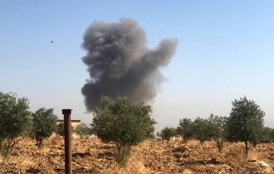 Een rookpluim bij Ras al-Ayn.