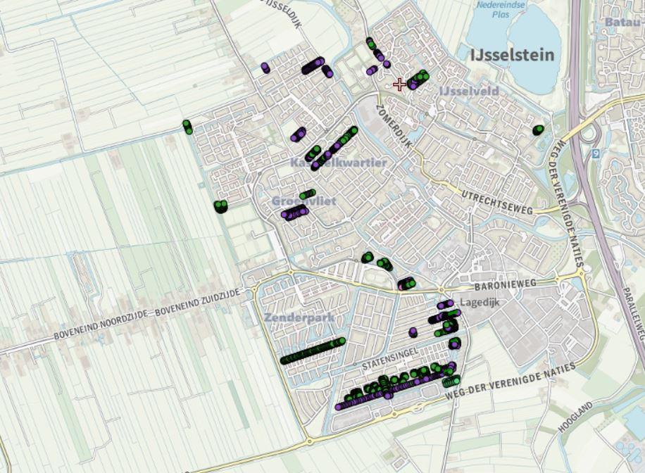 Screenshot van de digitale kaart van alle appel- en perenbomen in IJsselstein. Binnenkort gaat de kaart online.