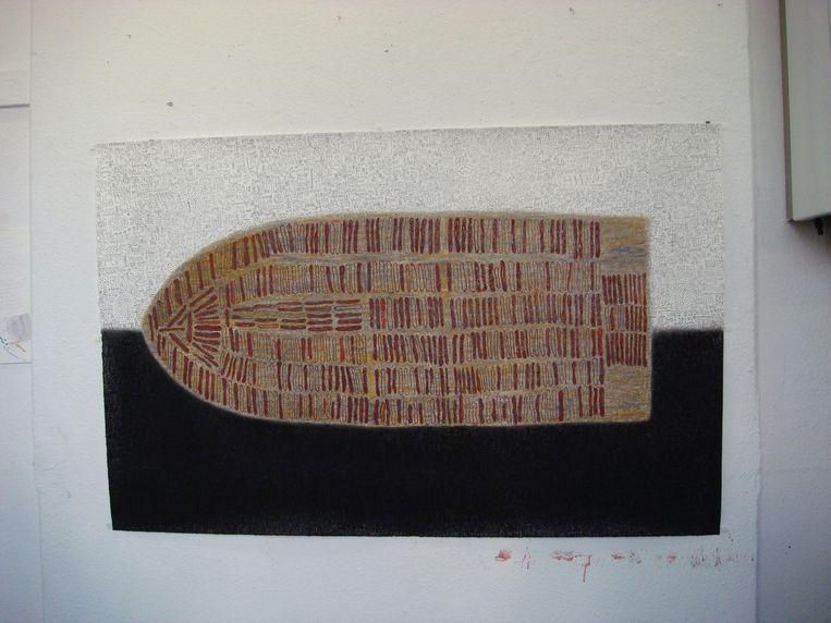 Werk van Victor Ekpuk (Nigeria) uit 2007, later aangekocht door het Smithsonian Museum in Washington. Beeld Pauline Burmann