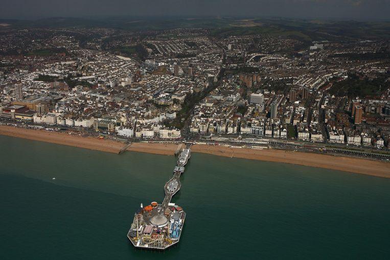 De kust van Brighton met de Palace Pier Beeld Getty Images