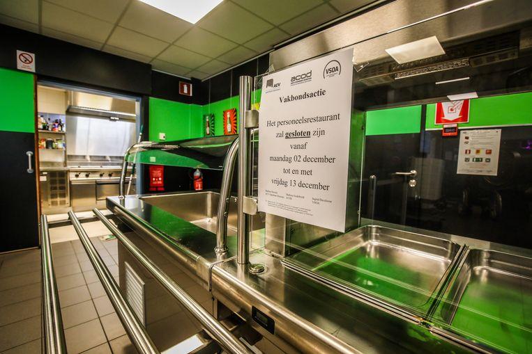 Sinds maandag is het personeelsrestaurant gesloten wegens staking in de Boarebreker.
