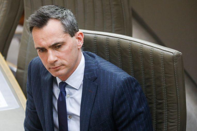 Lorin Parys tijdens een zitting van het Vlaams Parlement in Brussel. (25/03/2020)