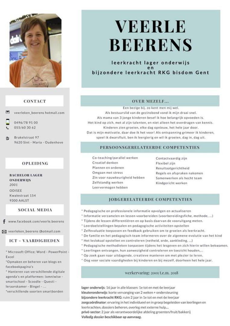 Veerle zette haar indrukwekkend CV op Facebook in de hoop dat een school het oppikt.