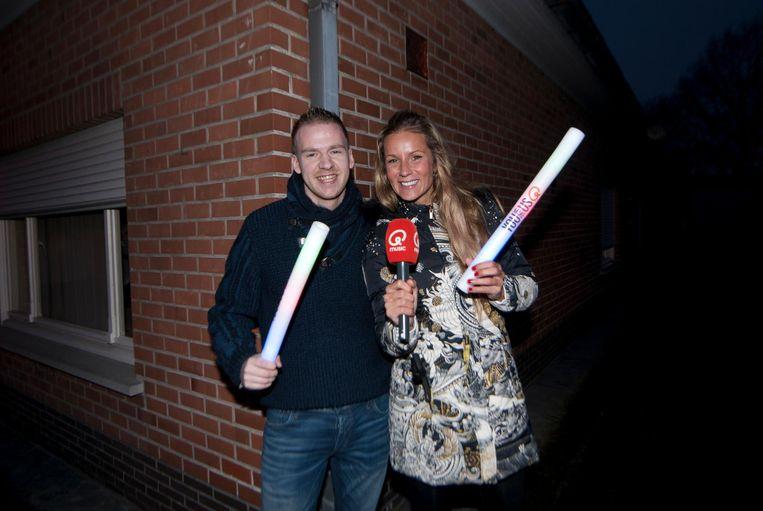 Quinten met zijn looppartner Joke Van De Velde vroeg in de ochtend.